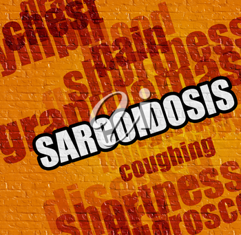 Healthcare concept: Sarcoidosis - on Brick Wall with Wordcloud Around . Sarcoidosis on the Yellow Wall .