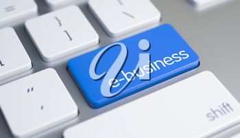 High Quality Render of a White Keyboard Button. The Button is Blue in Color and there is Caption E-Business on It. E-Business Button on White Keyboard. 3D Render.
