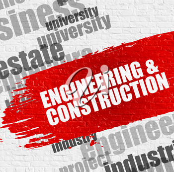 Education Concept: Engineering And Construction on the Red Grunge Paint Stripe. Engineering And Construction Modern Style Illustration on the Red Paintbrush Stripe.
