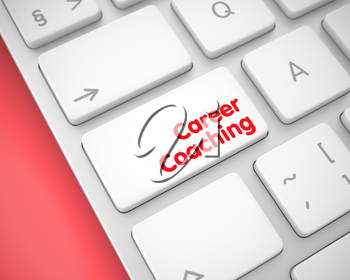 Career Coaching Key on the Keyboard Keys. with Red Background. Laptop Keyboard Keypad Showing the Text Career Coaching. Message on Keyboard White Keypad. 3D Illustration.