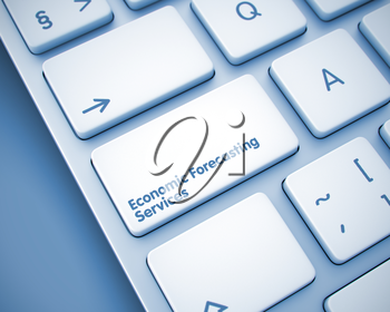 Online Service Concept: Economic Forecasting Services on Modern Computer Keyboard Background. Economic Forecasting Services Keypad on the Keyboard Keys. with Toned Background. 3D.