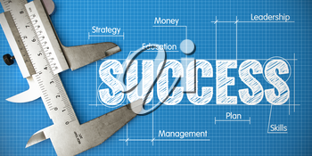 Measuring Success. Business Concept of Measuring Performance for Success with Blueprint and Caliper.