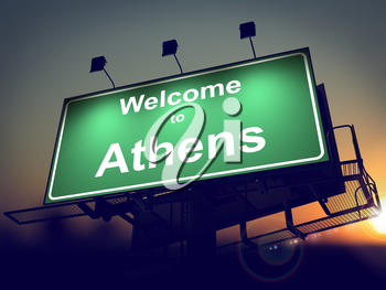 Welcome to Athens - Green Billboard on the Rising Sun Background.