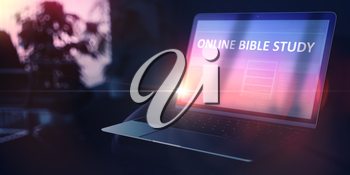 Online Bible Study on Beautiful Space Gray New Model of Stylish Contemporary Notebook. Extension School Concept. 3D Render.