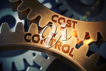 Cost Controlon the Golden Metallic Gears. Cost Control - Illustration with Lens Flare. 3D Rendering.