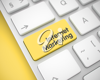 Service Concept with Modernized Enter Yellow Keypad on the Keyboard: Internet Marketing. Online Service Concept: Internet Marketing on Computer Keyboard Background. 3D Render.