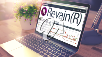 The Dynamics of Cost of Revain - R on the Modern Laptop Screen. Cryptocurrency Concept. Tinted Image with Selective Focus. 3D .