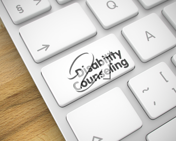 Modernized Keyboard Button Showing the MessageDisability Counseling. Message on Keyboard White Keypad. Online Service Concept: Disability Counseling on Modern Laptop Keyboard Background. 3D Render.