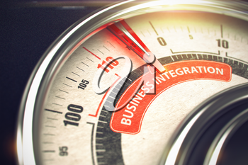 Gauge with Red Needle Pointing the Message Business Integration on the Red Label. 3D Render.