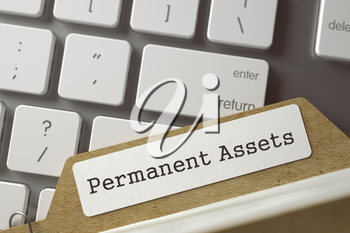 Permanent Assets. Folder Index Concept on Background of White PC Keyboard. Business Concept. Closeup View. Selective Focus. Toned Illustration. 3D Rendering.