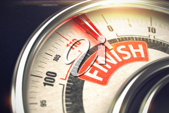 Finish - Red Label on the Conceptual Scale with Needle. Business Mode Concept. Finish Rate Conceptual Gauge with Message on Red Label. Business or Marketing Concept. 3D.