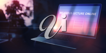 Religious Lecture Online on Modern Portable Notebook. Self-development Concept. 3D.