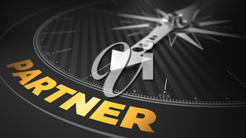 3D Illustration of an Abstract Compass Over Black Background with Needle Pointing the Text: Partner - Business Concept.
