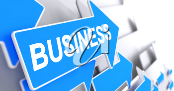 Business - Blue Arrow with a Message Indicates the Direction of Movement. Business, Text on the Blue Cursor. 3D Render.