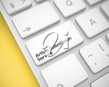 Article Submission Service Key on the Keyboard Keys. with Yellow Background. Close View View on Laptop Keyboard - Article Submission Service White Button. 3D Render.