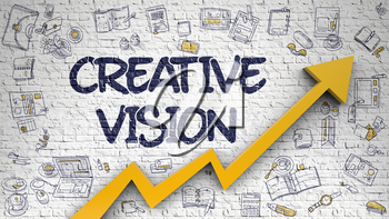 Creative Vision Drawn on White Brickwall. Illustration with Doodle Design Icons. Creative Vision - Success Concept with Hand Drawn Icons Around on Brick Wall Background.