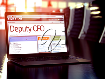 Deputy CFO, Deputy Chief Financial Officer - Job Find Concept. Job Vacancy. 3D Rendering.