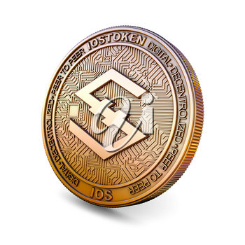 Iostoken IOS - Cryptocurrency Coin Isolated on White Background. 3D rendering.