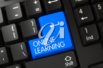 Blue Online Learning Key on Keyboard. 3D Illustration.