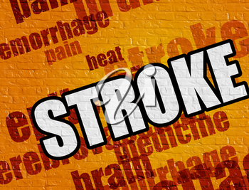 Modern medical concept: Stroke - on the Brick Wall with Word Cloud Around . Stroke on the Yellow Wall .