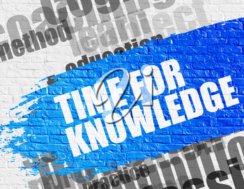 Education Concept: Time For Knowledge - on Brickwall with Word Cloud Around. Modern Illustration. Time For Knowledge Modern Style Illustration on the Blue Brush Stroke.