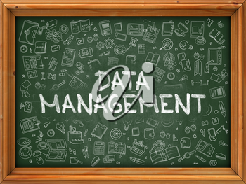 Green Chalkboard with Hand Drawn Data Management with Doodle Icons Around. Line Style Illustration.