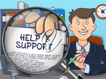 Officeman Sitting in Offiice and Holding a Concept on Paper Help and Support. Closeup View through Magnifier. Colored Doodle Illustration.