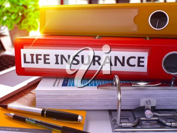 Red Office Folder with Inscription Life Insurance on Office Desktop with Office Supplies and Modern Laptop. Life Insurance Business Concept on Blurred Background. Life Insurance - Toned Image. 3D.