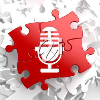 Microphone Icon on Red Puzzle. Sound Concept.