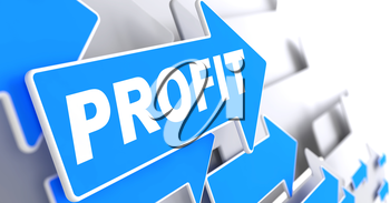 Profit on Blue Arrow on a Grey Background. Business Concept.