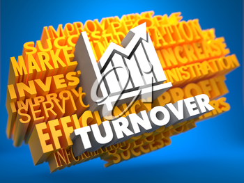 Turnover with Growth Chart Icon on Yellow WordCloud on Blue Background.