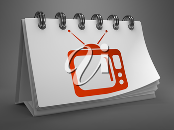 Red TV Set Icon on White Desktop Calendar Isolated on Gray Background.  Television Concept.