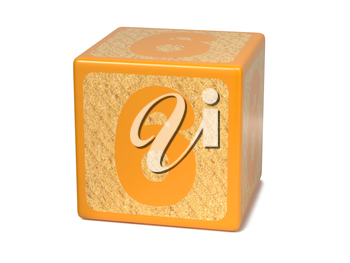 Number 6 on Orange Wooden Childrens Alphabet Block Isolated on White. Educational Concept.