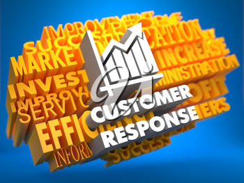 Customer Response with Growth Chart Icon on Yellow WordCloud on Blue Background.