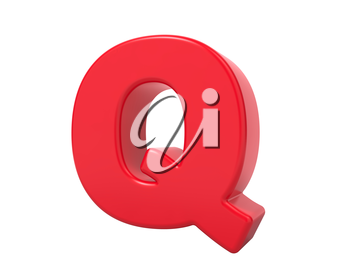 Red 3D Plastic Letter Q Isolated on White.
