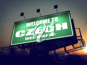 Welcome to Czech Republic - Green Billboard on the Rising Sun Background.