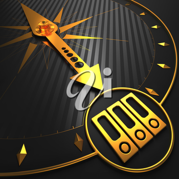 Icon of Folders - Golden Compass Needle on a Black Field Pointing.