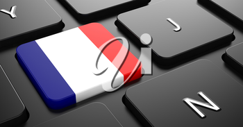 Flag of France - Button on Black Computer Keyboard.