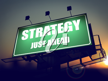 Strategy Just Ahead - Green Billboard on the Rising Sun Background.