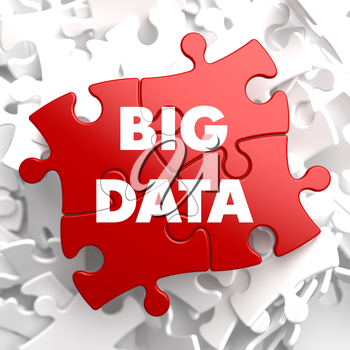 Big Data on Red Puzzle on White Background.
