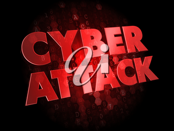 Cyber Attack - Red Color Text on Dark Digital Background.