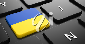 Flag of Ukraine - Button on Black Computer Keyboard.