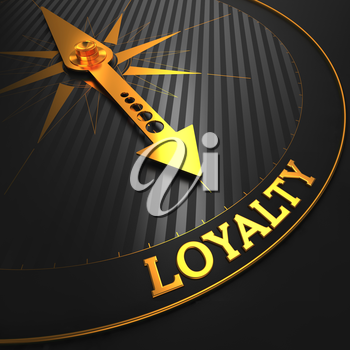 Loyalty - Golden Compass Needle on a Black Field Pointing.
