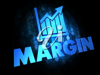 Margin with Growth Chart Icon - Blue Color Text on Dark Digital Background.