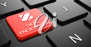 Data Encryption with Shield Icon on Red Button on Black Computer Keyboard.
