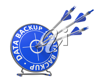 Data Backup Concept. Three Arrows Hit in Blue Target.