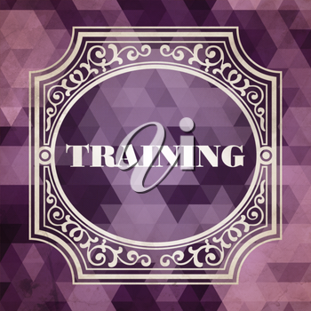 Training Concept. Vintage design. Purple Background made of Triangles.