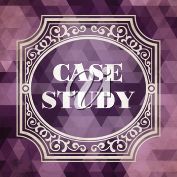 Case Study Concept. Vintage design. Purple Background made of Triangles.
