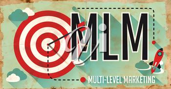 MLM Concept. Poster on Old Paper in Flat Design with Long Shadows.