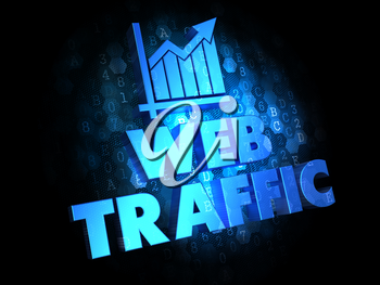 Web Traffic. Growth Concept. Blue Color Text on Dark Digital Background.